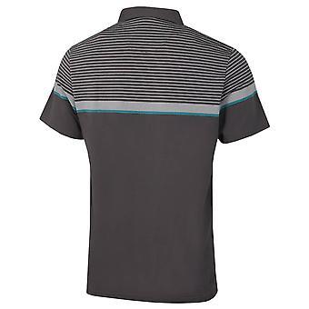 Original Penguin Mens 2021 Konstruerad Fine Line Stripe Logo Golf Polo Shirt