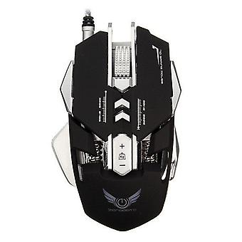 X300 7 Buttons 3200DPI LED Variable Light Ergonomic Wired Gaming Mouse black