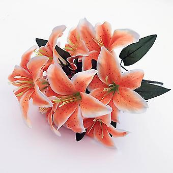 2pcs Artificial Lily 10 Heads Fake Lily Artificial Flower Wedding Party Decor(Orange)