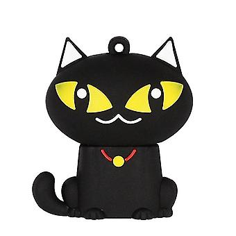 MicroDrive 32GB USB 2.0 יצירתי חמוד חתול שחור U דיסק