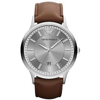 Emporio Armani AR2463 Correa de cuero marrón gris fecha ventana dial reloj de hombre