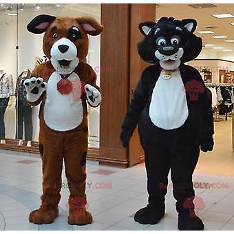 2 Maskotti REDBROKOLY.COMs jättiläinen kissa ja koira