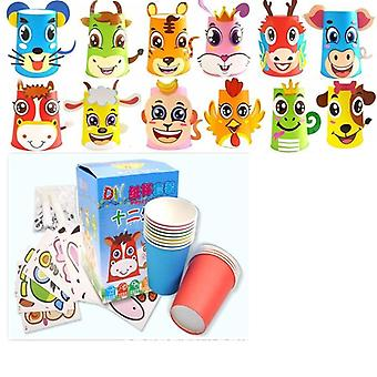 Lapset Eläimet Diy Paper Cups Tarra Craft_toys
