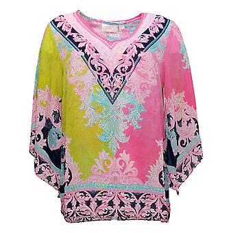 Belle af Kim Grus Kvinders Top Printed Bluse m / Tank Pink A374193
