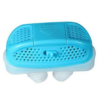 (Blue) Mini-CPAP Anti Snoring Device Sleep Aid Apnea Stop Snore Stopper Nose-Machine