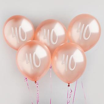40 milepæl Rose Gold bursdagsfest ballonger x 5