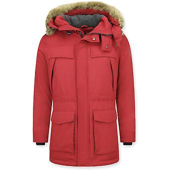 Lang Parka frakk - med pels krage - rød
