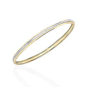 "TJC 9K Yellow and White Gold Diamond Cut Designer Bangle for Women Size 8"""