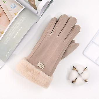New Winter Outdoor Korean Warm And Lovely Cartoon Touch Screen Five Finger Knitted Glove Women