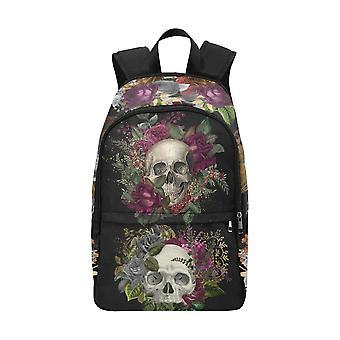 Laptop backpack (nylon) - floral skulls #1