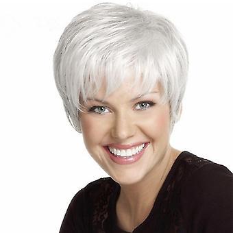 Pelucas de centro comercial de marca, pelucas de encaje, pelo corto esponjoso realista peluca de personalidad plateada de pelo liso