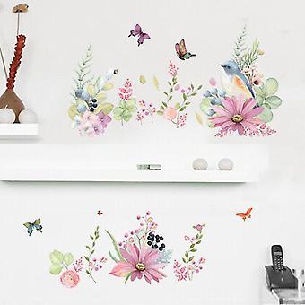 Flower Butterfly Zdejmowane naklejki ścienne Kid Bedroom Decor Wallpaper