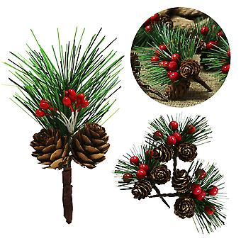20pcs Artificial Christmas Berry And Pine Cone With Holly Branches Fake Bouquet