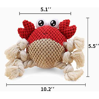 Dog Toys Dog Plush Toys Dog Squeaky Toys With Crinkle Paper Partial Stuffed Chew Toys For Puppy And Medium Dogs(crab)