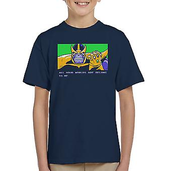 All Your Worlds Are Belong To Me Thanos Zero Wing Kid's T-Shirt