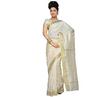 Crème Art Silk Saree Sari stof India gouden rand