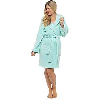 Tom Franks Ladies Varm Klassisk Fleece Hooded Wrap Över Badrock Morgonrock - Mynta - XL-2XL
