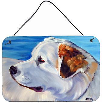 Pirenejski pies na plaży ściany lub drzwi wiszące drukuje