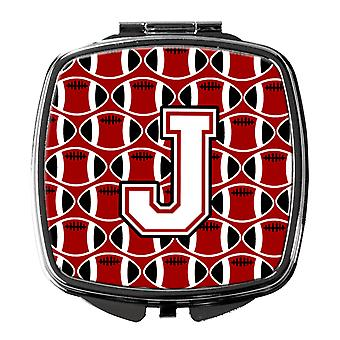 Letter J Football Cardinal and White Compact Mirror