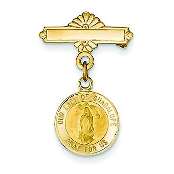 14k Yellow Gold Solid Satin Polished Flat back Not engraveable Our Lady of Guadalupe Religious Medal Pendant Necklace Pi