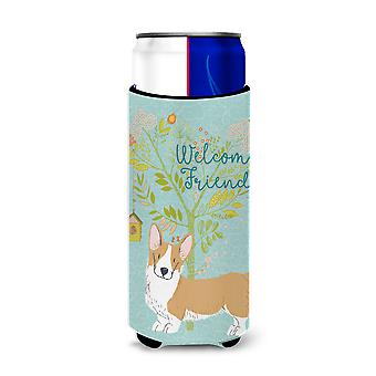 Welcome Friends Cardigan Welsh Corgi Tricolor Michelob Ultra Hugger for slim can