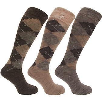 Mens traditionella Argyle mönster lång längd lamm ull blandning strumpor (förpackning med 3)