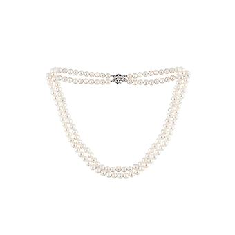 Women's necklace 2 Rows in Pearls of White And Silver Freshwater Culture 925/1000 811