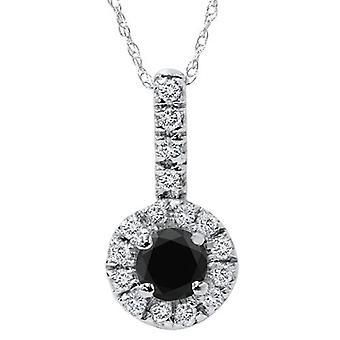 3/4ct Black & White Halo Diamond Pendant 14K White Gold