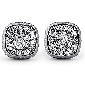 1ct utorować Diamond Poduszka kształt szpilki plecione granicy kolczyki 14k białe złoto