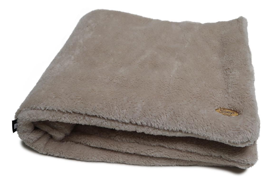 Teddy bear plaid Dog / Pet Blanket Beige