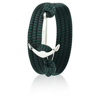 Skipper ankare armband armband i grön/svart Nylon med silver ankare 6639