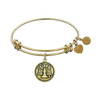 Smooth Finish Brass Libra September Angelica Bangle Bracelet, 7.25""