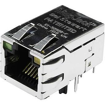 מגג'אק 10/100Base-TX פו 4 משדר עם נוריות שקע, מספר מטען אופקי של פינים: 8P8C SI-52008-F מצופה ניקל, מחברי מתכת בל סטיוארט