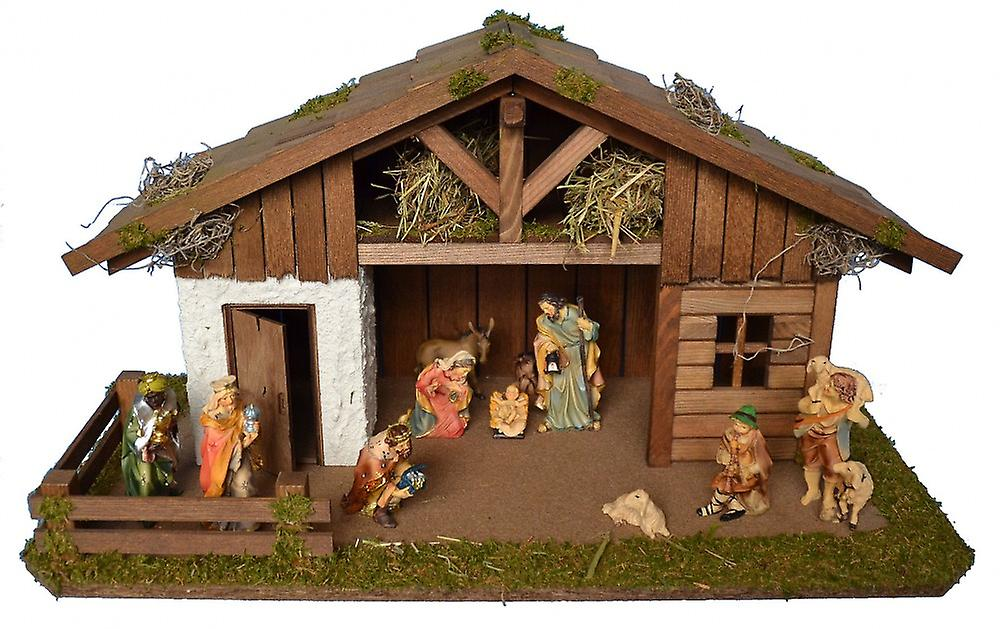Wooden Nativity Scene Figures The Ox and Donkey 12cm Pair.