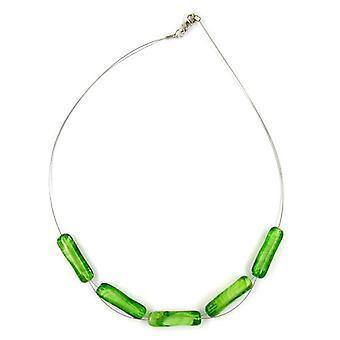 modische Halskette mit Glasperlen grün weiss Kette, Glas-Walze grün-weiß