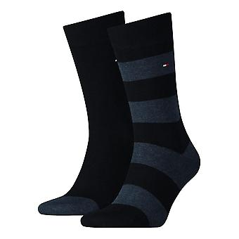 Tommy Hilfiger Rugby a righe Socks 2-Pack - blu marino scuro
