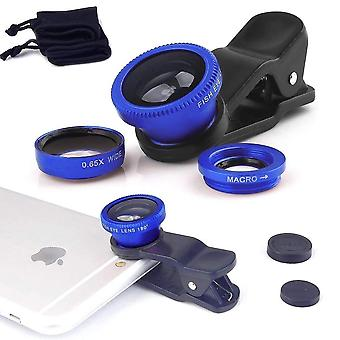 (Blue) Mobile Phone Universal Camera Lens 3 in 1 Kit Wide Angle + Fisheye + Macro Lens For Samsung Galaxy S9+