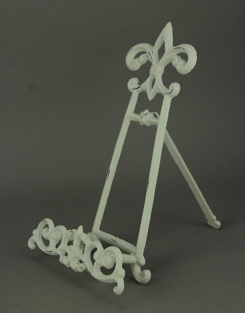 Vintage White Cast Iron Fleur De Lis Book Stand