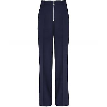 Victoria Beckham Virgin Wool Blend Front Zip Trousers
