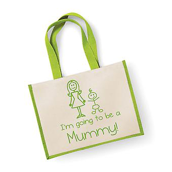 Large Green Jute Bag I'm Going To Be A Mummy