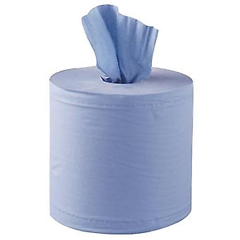 Simply Direct Blue Multi Purpose Embossed Centrefeed Hygiene Roll. Cleaning Wipes, Cloths, 2 Ply 130 metres Long 60mm Splitable Core