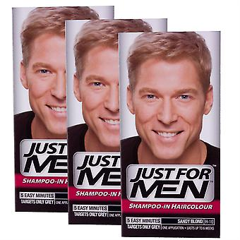 3 x bara för män schampo i hårfärg - Sandy blond H10