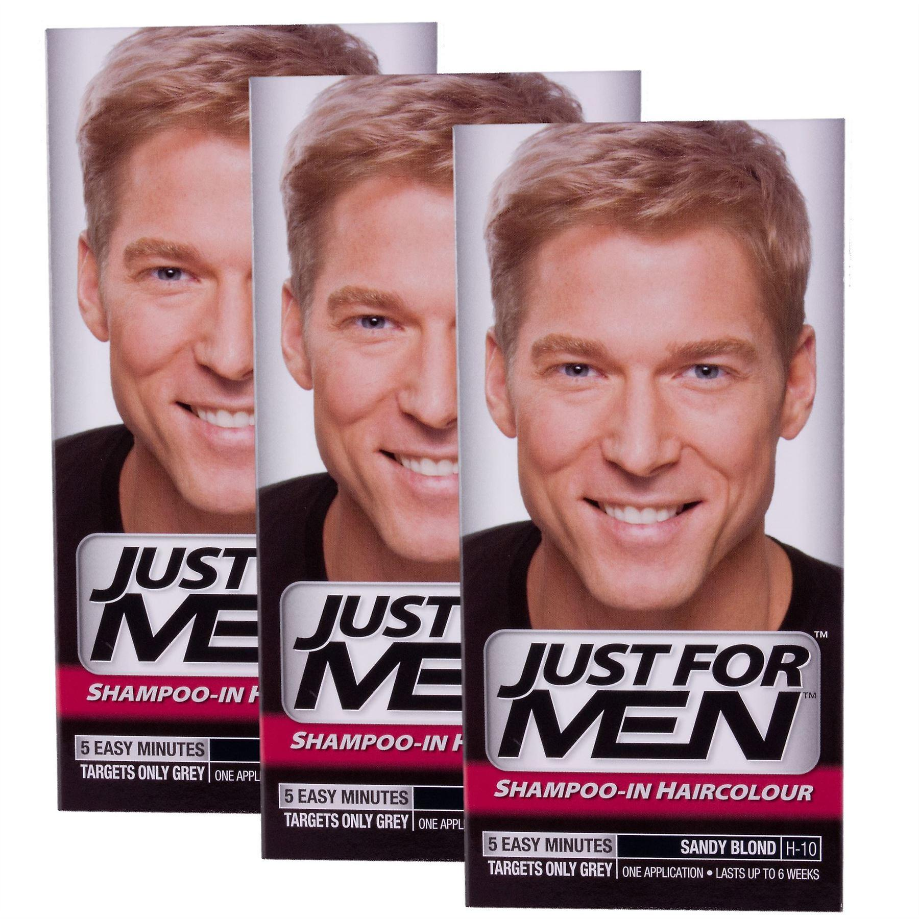 3 x Just For Men Shampoo In Hair Colour -  Sandy Blonde H10
