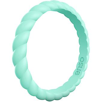 Enso Rings Braided Stackables Series Silicone Ring - Turquoise