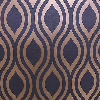 Retrowelle geometrischen Hintergrundbild Marineblau Goldmetallic texturiert Arthouse Ogee