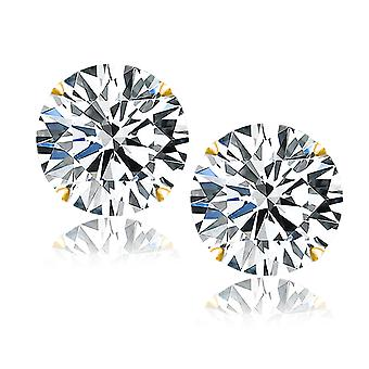 Dazzling Gold Claw Round Cut Cubic Zirconia Stud Earrings