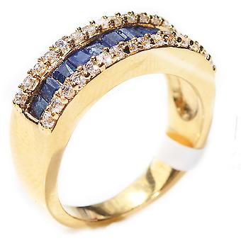 Ah! Jewellery Precious Sapphire Gemstones Bar Ring. Gold Filled, Stamped GL