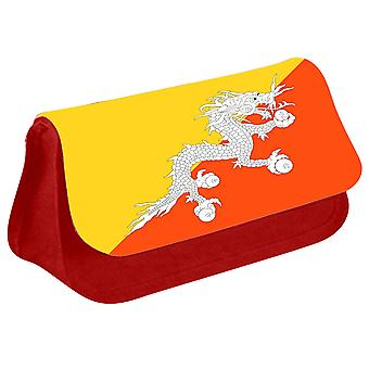 Bhutan Flag Printed Design Pencil Case for Stationary/Cosmetic - 0020 (Red) by i-Tronixs