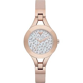 Emporio Armani Ar7437 Rose Gold Tone Leather White Dial Ladies Watch