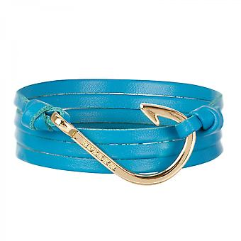 Holler Kirby  Gold Polished Hook / Light Blue Leather Bracelet  HLB-04GDP-L18